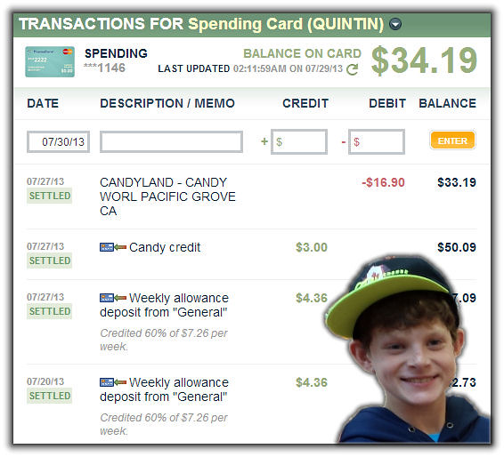 Candy Transactions on FamZoo Prepaid Card