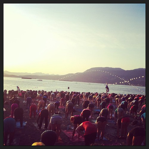 Sunset yoga on the beach with several hundred of your closest friends. #seawheeze #lululemon