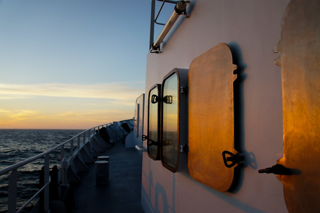 Evening sunset aboard the RV Falkor. Photo by Andy Robertson.