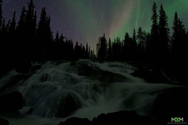 Aurora over Cameron River Rampart Falls