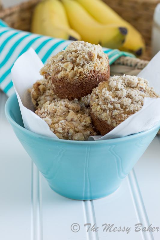 Banana Muffins with Walnut Streusel | www.themessybakerblog.com -8505