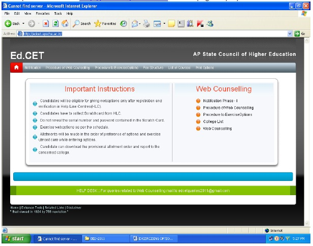 AP-EdCET Counselling 2016 Procedure to Execrcise Web Option