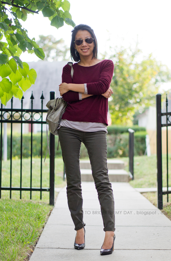 burgundy sweater, olive pants
