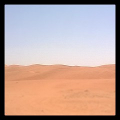 In the middle of nowhere. #desert #redsands #clearsky #cloudless #freakinghot #saudiarabia