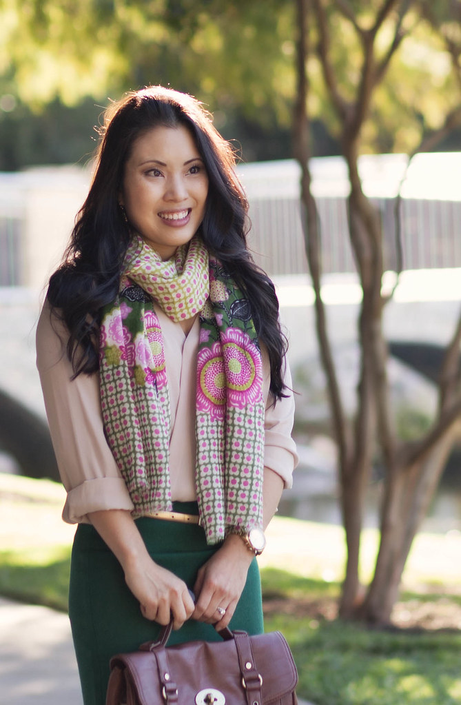cute & little blog | rose top, green pencil skirt, vera bradley olivia pink scarf, sole society anneke pumps outfit #ootd