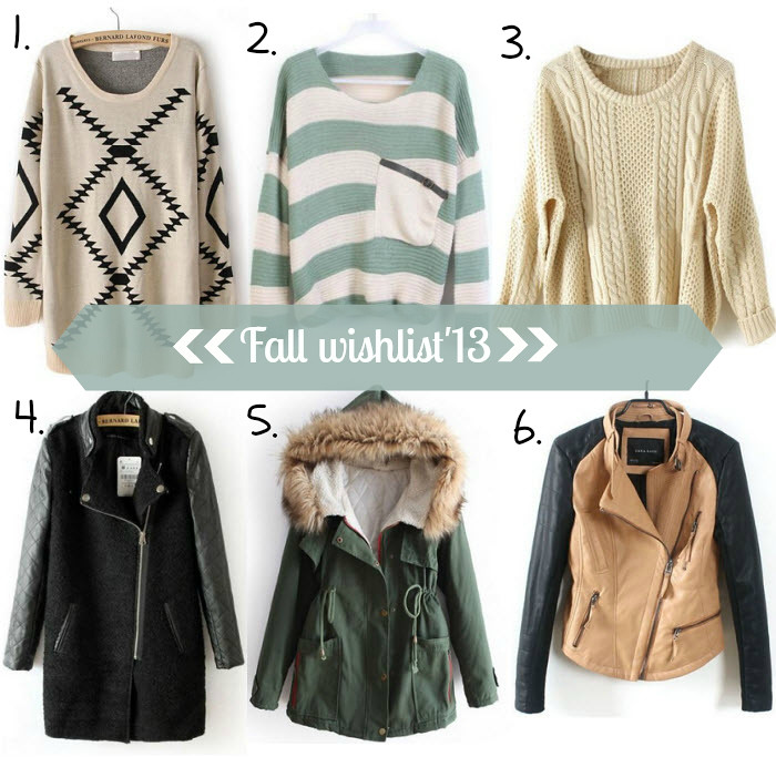 Winter outerwear and knitwear wishlist, featuring coats, jackets and sweaters from Sheinside.  Aztec print sweater, stripped sweater with pocket, apricot cable knit sweater, leather sleeve black contrast coat, green fur hooded coat, khaki and black biker jacket