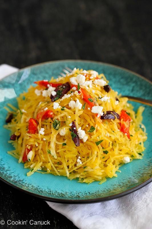 Mediterranean Spaghetti Squash Recipe with Feta Cheese & Roasted Peppers | cookincanuck.com #vegetarian