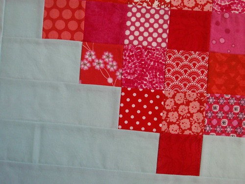 Pixelated Heart mini quilt - close up