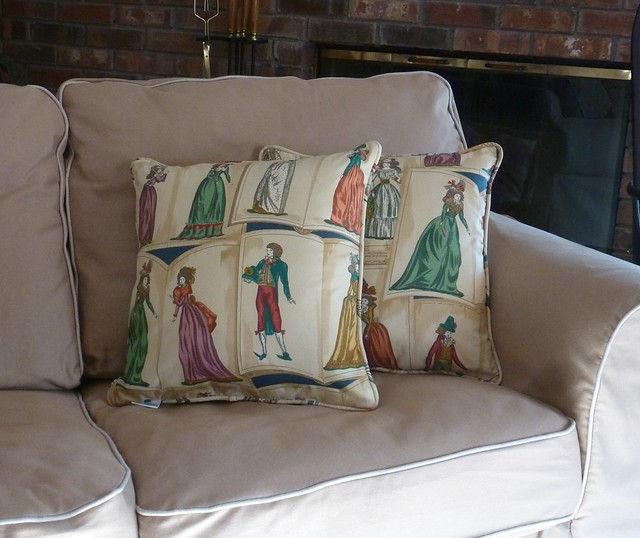 "18th century ""Journal de la Mode"" fashion plate pillows"