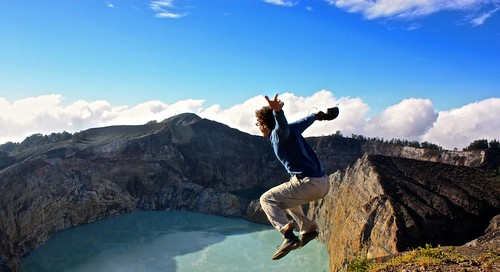 me jumping in to the Kelimutu volcano