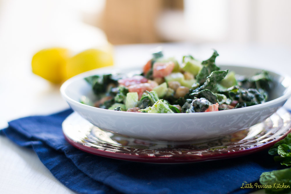 Chopped Kale and Chickpea Salad with Creamy Tahini Dressing via LittleFerraroKitchen