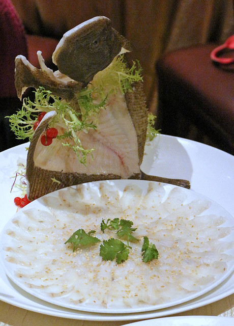 Turbot is a flatfish not commonly used for yusheng but the firm white flesh gives good texture