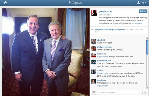 Chris Christie Instagram w/ Regis Philbin