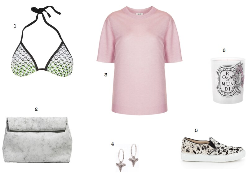 Peter Pilotto for Target bikini top Topshop Unique pink lurex top Diptyque Rosa Mundi candle