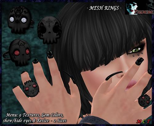 [OFFER!] *P* My Dear Skull MESH Rings ~Black~