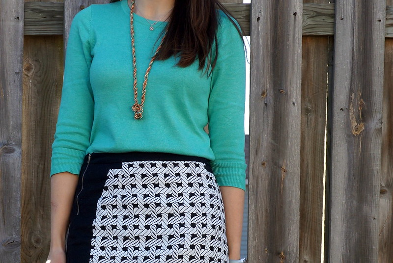 mint sweater and nautical rope skirt