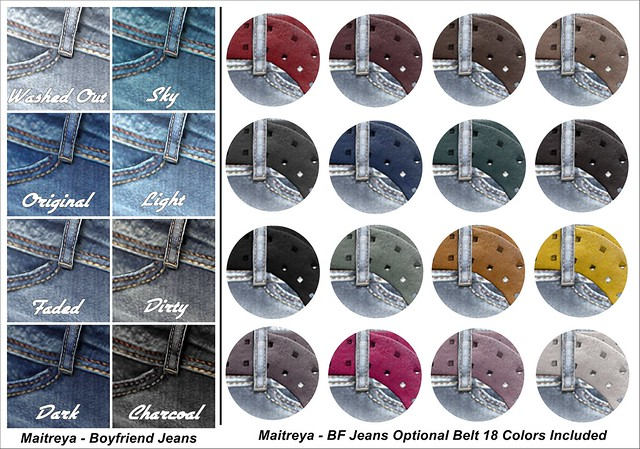 Maitreya BF Jeans Washes and Belt Colors