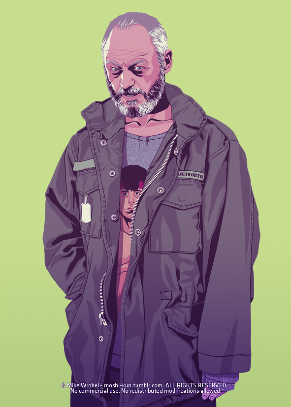 25 Davos Seaworth as a veteran, wearing a sweatshirt of Rambo.