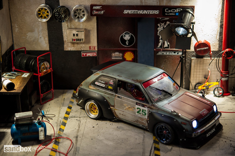 Dubdrift Toyota STARLET KP61 RC Drift Rusty Effect on sandbox speedhunters drift garage 14345499456_004b092b22_c