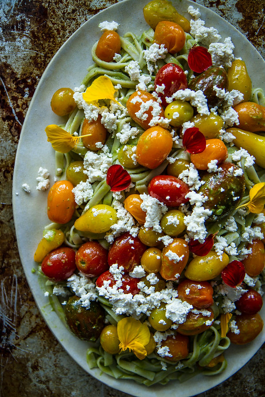 Creamy Pesto Pasta with Cherry Tomatoes and Almond Ricotta -Vegan and Gluten Free