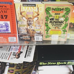 "4 almanacs in one gas station rack! check out the ""new farmers almanac"" for sale on our etsy page, 3rd edition comes out in time for winter holiday gift circus!"