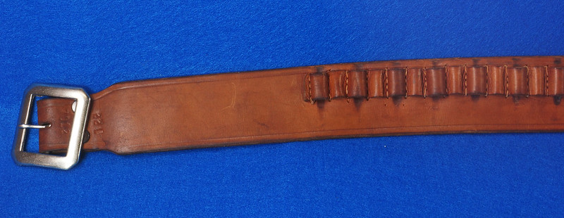 RD15060 Vintage Hand Made By Viking Mexican Leather Gun Ammo Belt .22L 7012 43 inch Long DSC07340