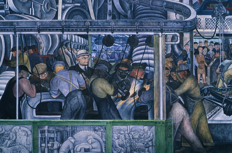 Mural of factory workers