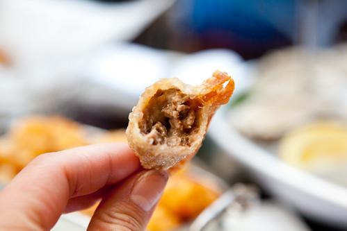 Bitten French dip dumpling