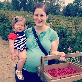 Raspberry picking! (Claire didn't appreciate having to work for her food...)