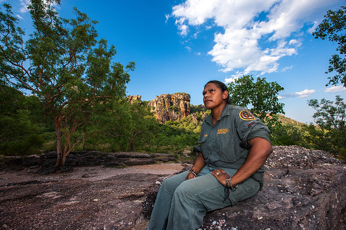 Indigenous ranger at Gun-warddehwardde Lookout, Nourlangie - Photo by Parks Australia