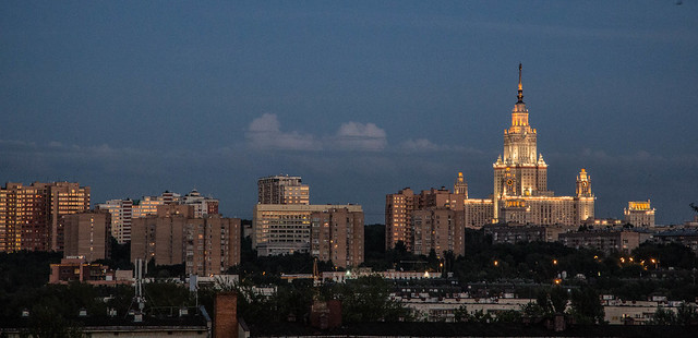 Moscow University at sunset
