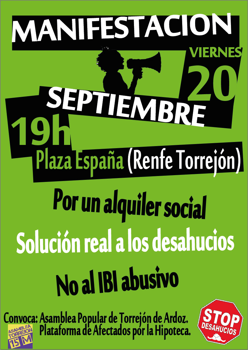 Cartel: Manifestación 20 de Septiembre Torrejón de Ardoz