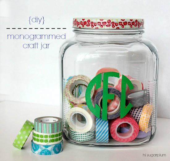 Hi sugarplum diy monogrammed glass jar Hi sugarplum