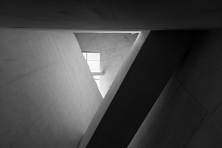 Image of Casa da Música near Porto. blackandwhite bw portugal monochrome architecture concrete structure ceiling porto remkoolhaas musichall koolhaas modernarchitecture concerthall casadamúsica shapesandforms portodistrict lr5 koohas canoneos5dmarkiii 5d3 lightroom5