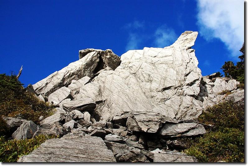 南湖主、南連稜上的巨石 9