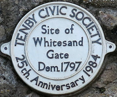 Photo of Whitesand Gate, Tenby white plaque