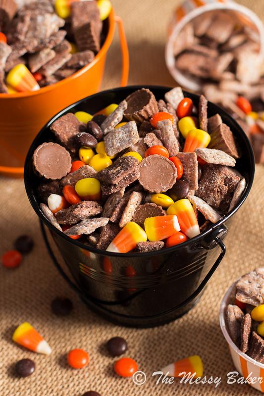 Chocolate Peanut Butter Halloween Puppy Chow | www.themessybakerblog.com -8782