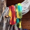 Michelle's and my yarn. Surprisingly, it's not the Gryffindor colored yarn. #highlandsonthefly #nofilter #imadethis #dyeingworkshop