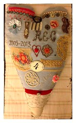 """forever & a day"" giant mixed media love token vintage inspired sailor's heart"