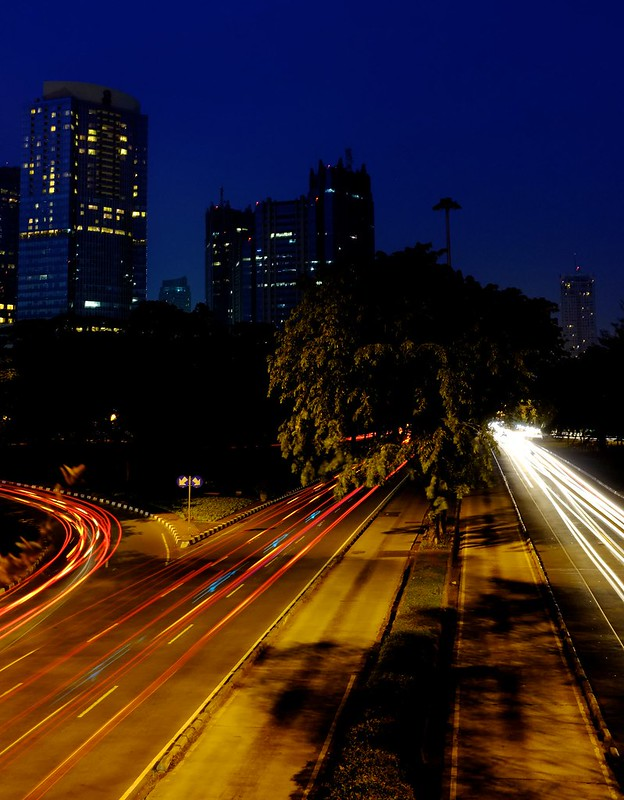 Jakarta light trails - Semangi Intersection (2)