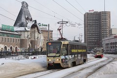 Moscow tram #4325 on route 50, outside Yaroslavsky railway station
