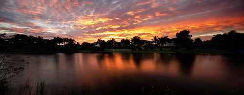 morning trees houses panorama lake reflection water clouds sunrise canon dawn canal unitedstates florida suburban bluesky coralsprings 6d tiltshift tse17
