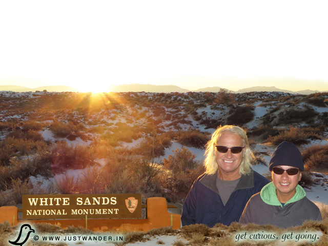 PIC: Maya and Bill of JustWander.in make it to White Sands National Monument in time for a beautiful November Sunset