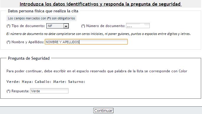 Datos identificativos y pregunta de seguridad