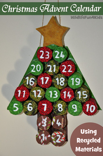 Christmas Advent Calendar Using Recycled Materials (Photo from Wildlife Fun 4 Kids)