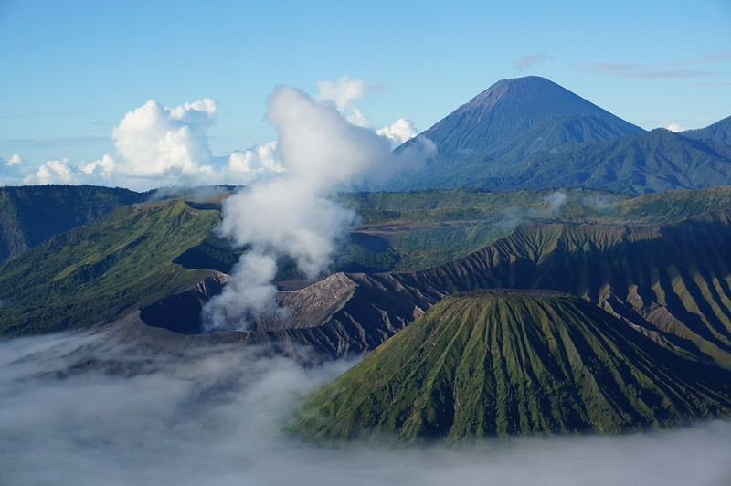 The most iconic view in Java, Indonesia - volcanoes seen from the Mount Penanjakan perspective