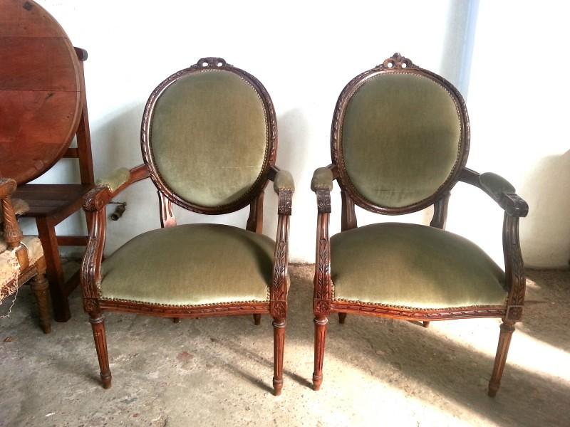 juego de sillones estilo frances luis xvi medallon antiguos  en mercado libre