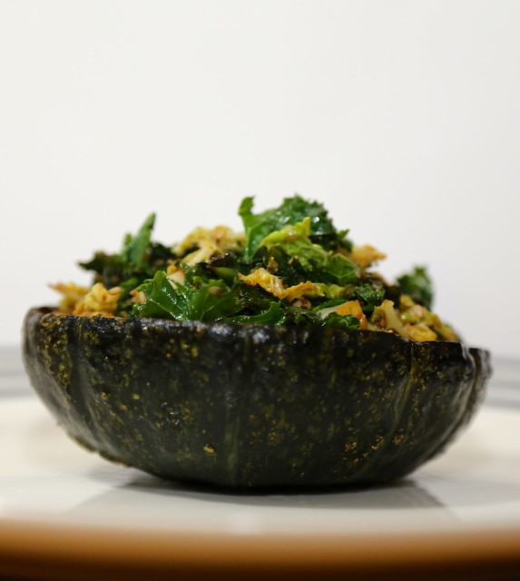 Acorn squash with sesame greens