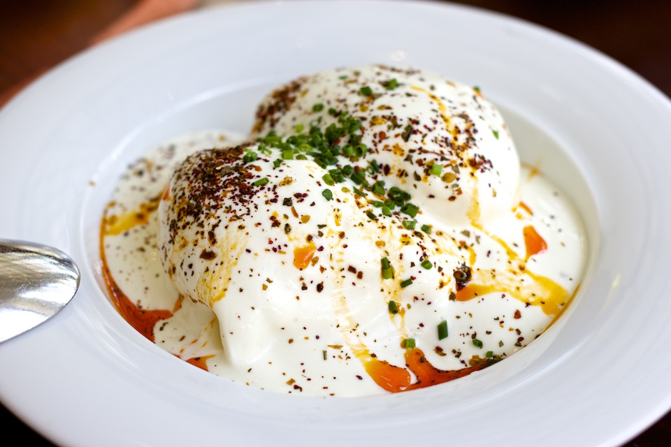 CILBIR, poached eggs, toast, Greek yogurt, paprika butter, sumac