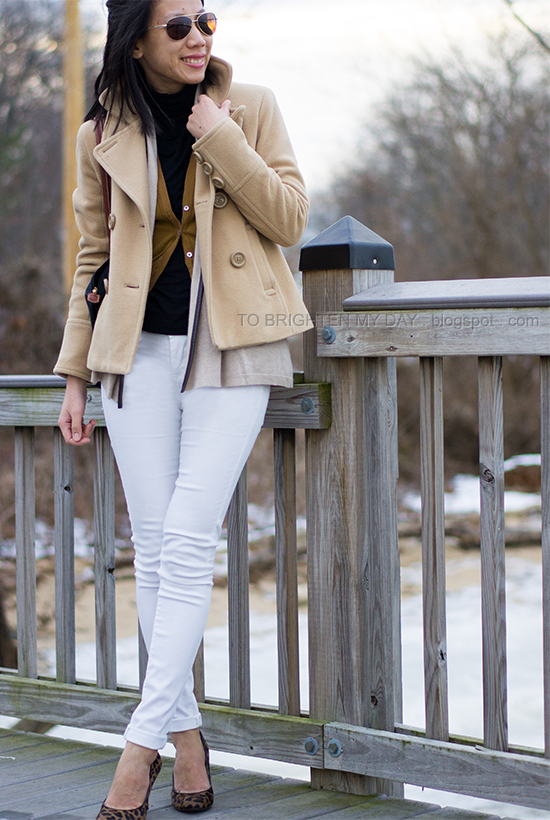 camel peacoat, white jeans, leopard pumps